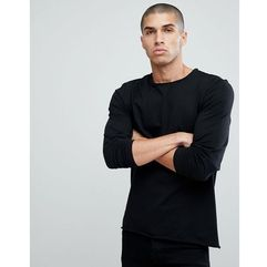 basic raw edge long sleeve top - black marki Another influence