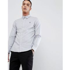 AllSaints Long Sleeve Shirt In Poplin - Grey