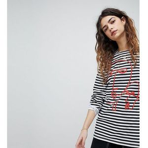 Reclaimed Vintage Revived Breton Stripe Top With Face Print - Multi