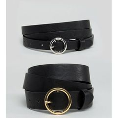 ASOS CURVE 2 Pack Circle Buckle Waist & Hip Belts - Black