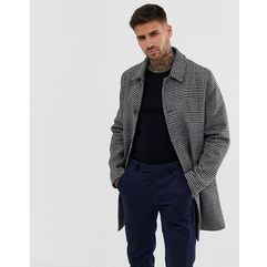 ASOS DESIGN wool mix trench coat in grey check - Grey, kolor szary