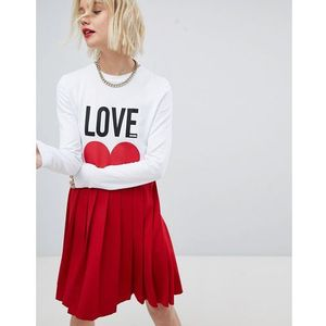 Love moschino icon mini t-shirt dress with pleated skirt - red