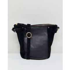 Accessorize skylar leather and suede bucket bag - black