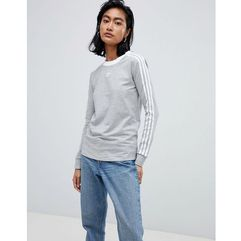 Adidas originals three stripe long sleeve t-shirt in grey - grey