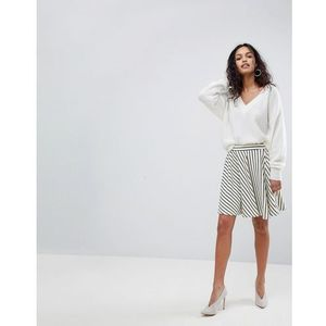 Y.A.S Stripe Skater Skirt - White