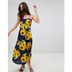 sunflower print midi dress with button front - multi, Parisian