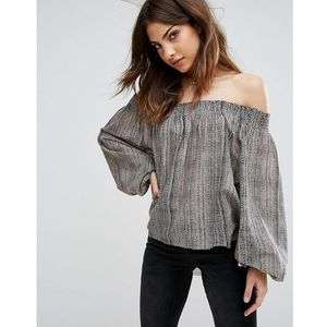 One Teaspoon Off Shoulder Smock Top - Black