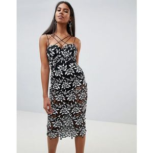 Rare spagetti crochet midi dress - Black, kolor czarny
