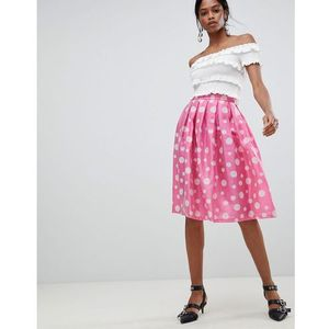 Liquorish Polka Dot Pleated Prom Skirt - Pink, kolor różowy