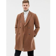 ASOS DESIGN wool mix double breasted overcoat in dark camel - Tan