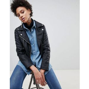 Stradivarius Leather Look Biker Jacket - Black, 1 rozmiar