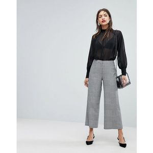 Whistles check cropped wide leg trouser - grey