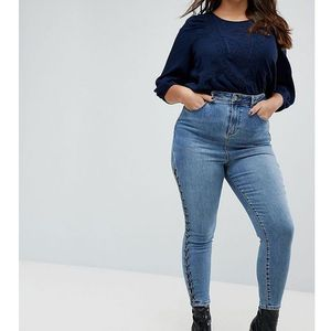 New look plus New look curve skinny lace up jean - blue