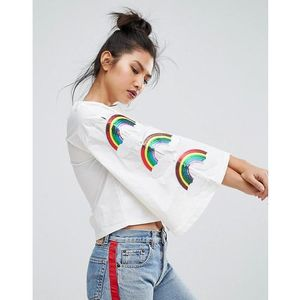 Ziztar wide sleeve top with triple rainbows - white