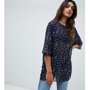 Glamorous tall relaxed top in sparkle fabric - navy