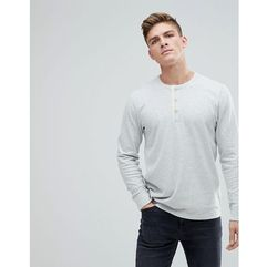 Abercrombie & fitch waffle henley long sleeve top in off white - cream