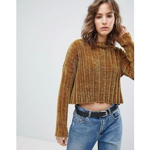ribbed chenille cropped jumper - green, E.l.k, 36-40
