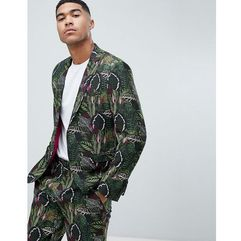 ASOS DESIGN skinny suit jacket in green botanical print in linen look - Green, kolor zielony