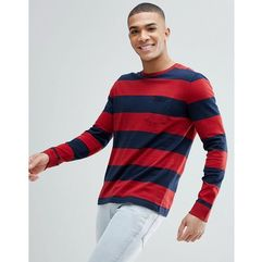 Abercrombie & fitch crew neck pocket long sleeve top block stripe in red/navy - red