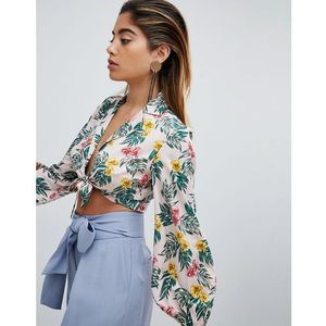 tie front shirt in tropical print - multi marki Fashion union