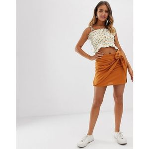Pimkie tie side mini skirt in orange - yellow