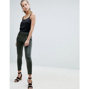 Oeuvre Leather Look Leggings - Green