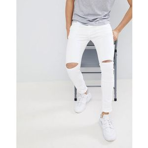 Pull&Bear Super Skinny Jeans With Knee Rips In White - White, kolor biały