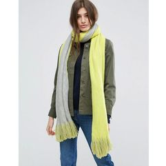 Asos long tassel scarf in supersoft knit in colour block - yellow