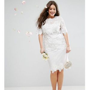 ASOS EDITION Curve Lace Embroidered Midi Wedding Dress - White, kolor biały