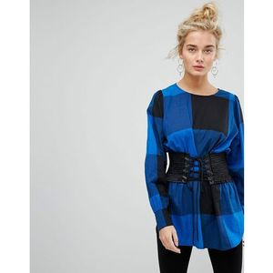 Current Air Boat Neck Check Top with Corset - Blue