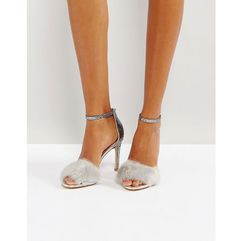 fiolla faux fur heeled sandals - silver, Aldo