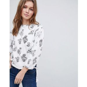 Brave Soul Swoop Long Sleeve Top in Floral Print - White, w 4 rozmiarach