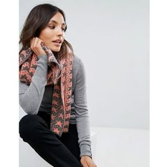 Alice Hannah Vertical Star Jacquard Shawl - Brown