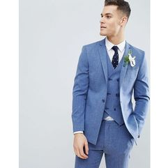 ASOS DESIGN Wedding Skinny Suit Jacket In Provence Blue Cross Hatch With Printed Lining - Blue