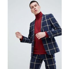 ASOS DESIGN Skinny Suit Jacket In Navy Seersucker Windowpane Check - Navy