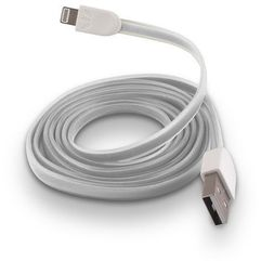 Telforceone Płaski kabel silikonowy usb do apple iphone 5 / 6 biały (5900495319562)