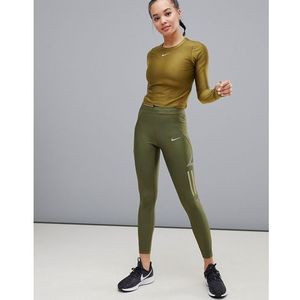 Nike running speed leggings in green with graphic print - green