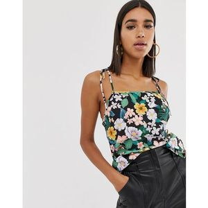 Fashion Union tie sleeves cami top in floral - Multi