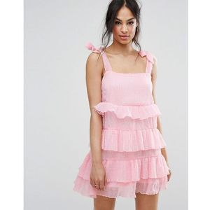 Missguided Tie Shoulder Tiered Ruffle Dress - Pink