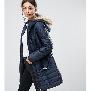 padded faux fur belted parka - navy marki Vero moda tall