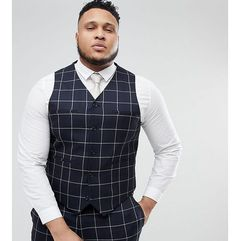 ASOS PLUS Wedding Skinny Suit Waistcoat In Navy Windowpane Check - Navy