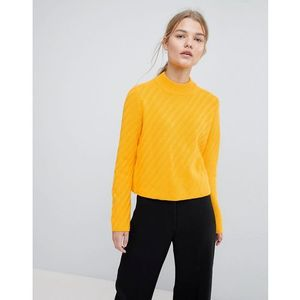 knitted high neck jumper - yellow marki Selected