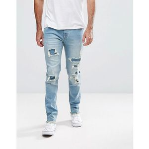 Hoxton Denim Slim Fit Jeans with Heavy Rips - Blue, jeans