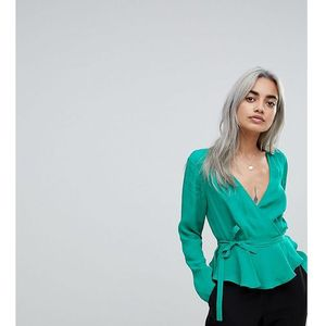 wrap top with pephem - green, Asos petite