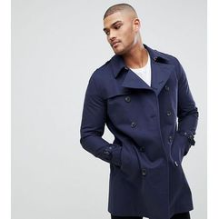 ASOS TALL Shower Resistant Double Breasted Trench In Navy - Navy