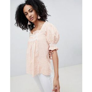 Lost ink smock top with shirring in stripe - orange