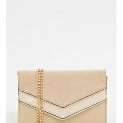 Aldo melitoirpino beige clutch bag with gold v bar detail - black