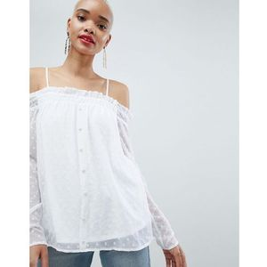 spot off shoulder blouse - white marki Pieces