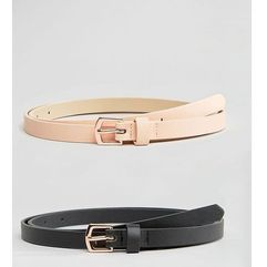 ASOS CURVE 2 Pack Rose Gold Buckle Waist And Hip Belts - Multi