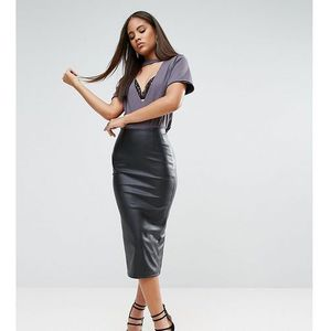 ASOS TALL Sculpt Me Leather Look Pencil Skirt - Black, kolor czarny